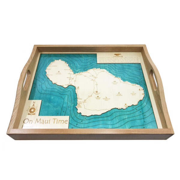 on maui time wood map serving tray