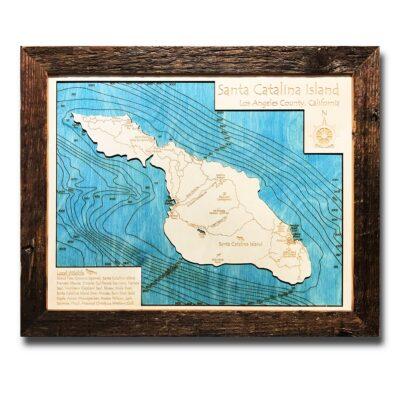 Catalina Island Wood Map