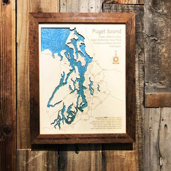 puget sound nautical wood map 3D