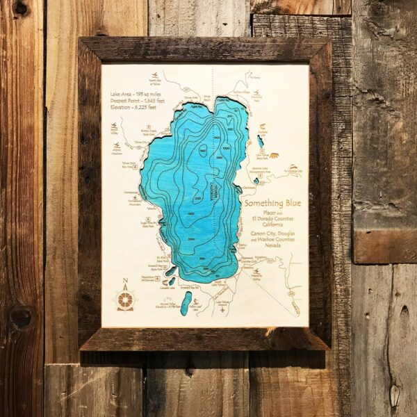 something blue lake tahoe wood map