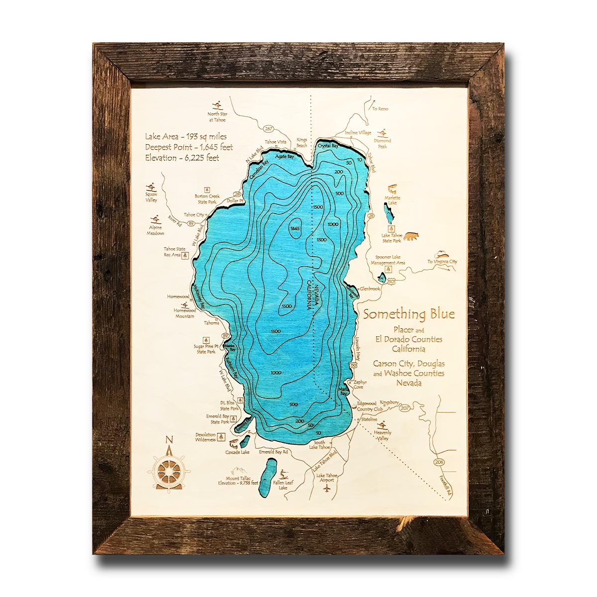Map X.The Nautical Wood Map Collection 3d Lake Maps 5 000 Bodies Of Water