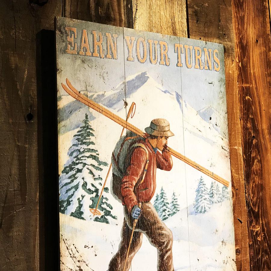VINTAGE SIGN Gun Barrel Ski Run 20 x 5