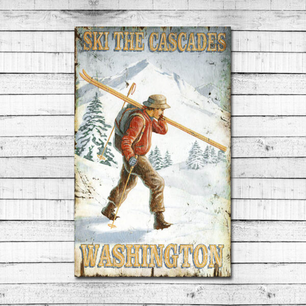 Ski The Cascades Vintage Sign