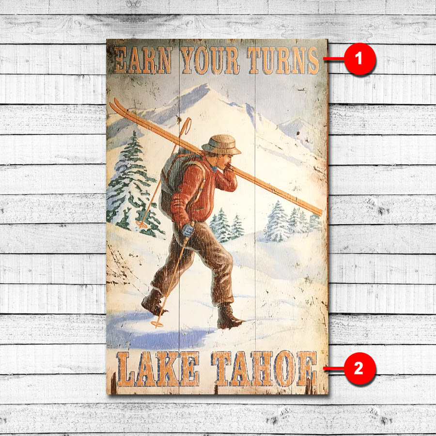 Earn Your Turns Personalized Vintage Ski Sign