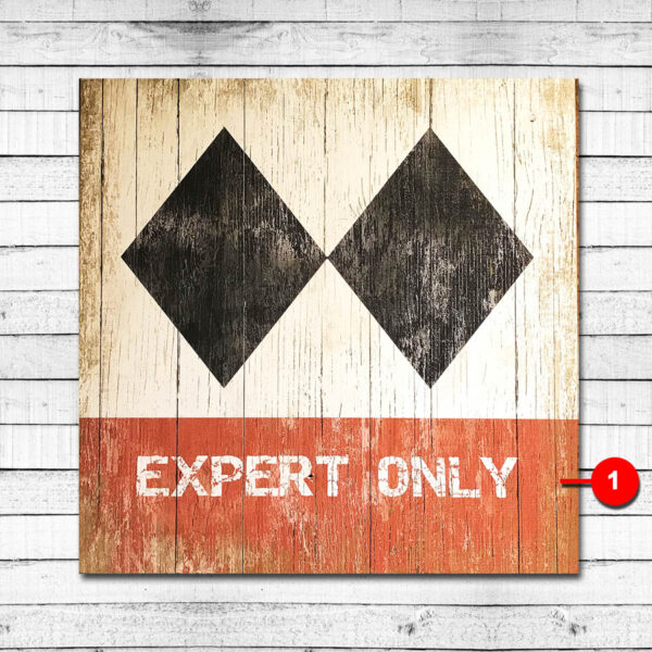 Expert Only Vintage Ski Resort Sign