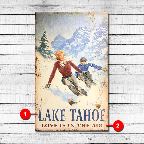 Vintage Wood Ski Sign - Personalized Cabin Sign