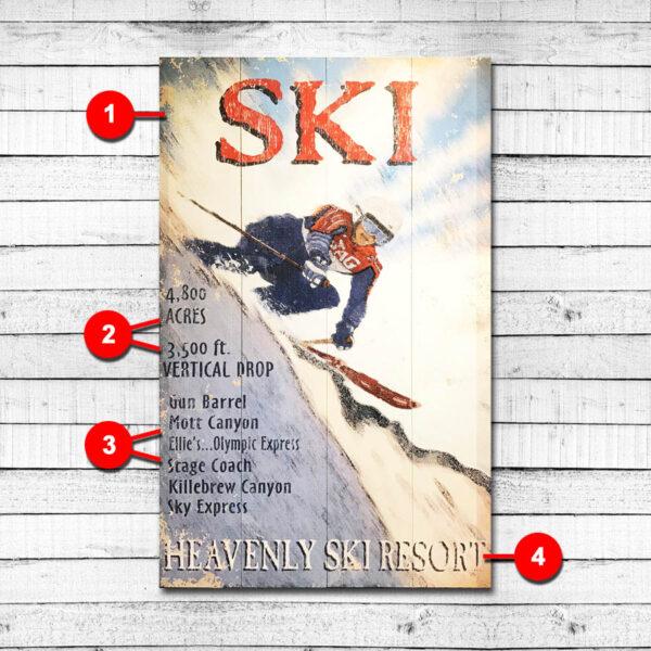 Ski Heavenly Mountain Vintage Ski Sign