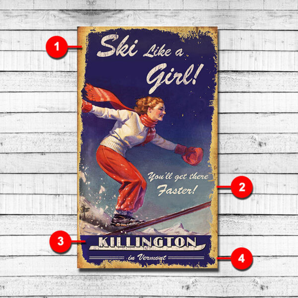 Killington Vintage Ski Sign, Personalized Wood Sign