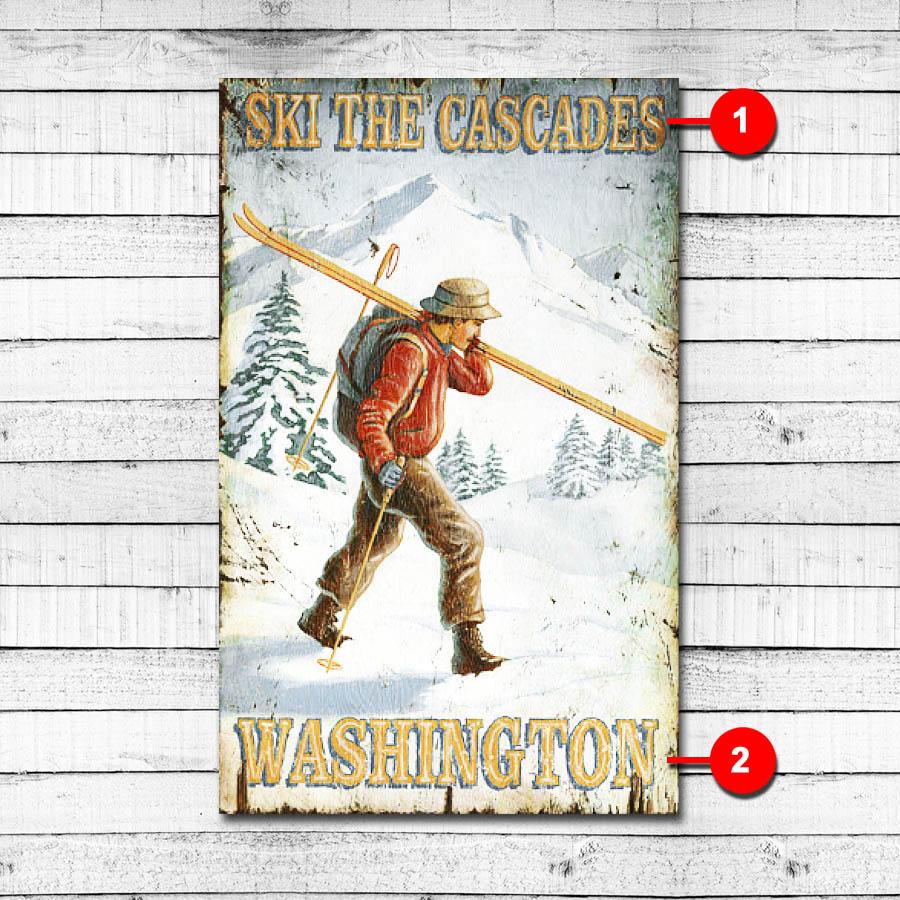 Ski the Cascades Personalized Ski Sign