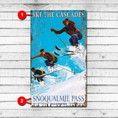 Vintage Ski Resort Personalized Cabin Sign