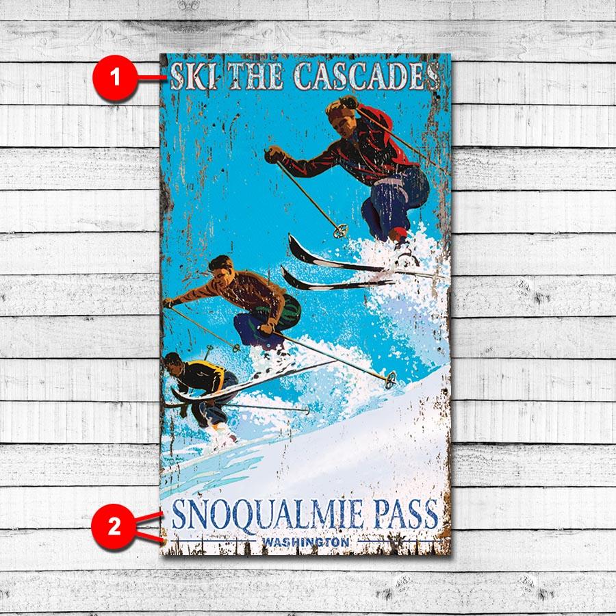 Vintage Ski Resort Personalized Cabin Sign