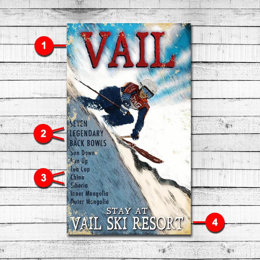 Vail Colorado Vintage Personalized Sign