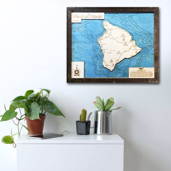 hawaii wood map for sale