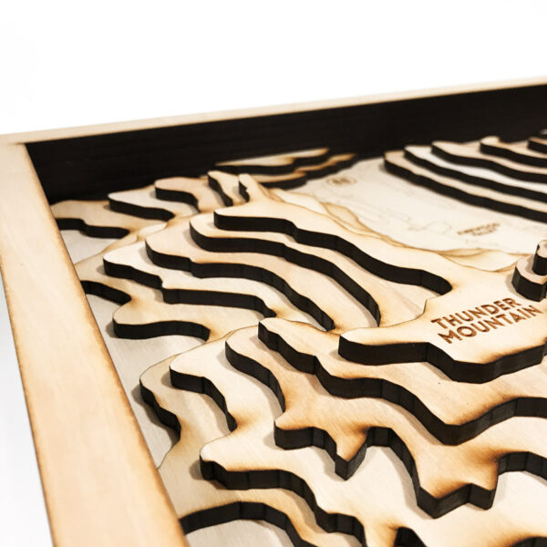 Laser-etched wooden map of Kirkwood Ski Resort