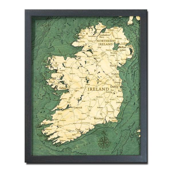 Map Of Ireland 3d.Ireland Nautical Wood Map 16 X 20