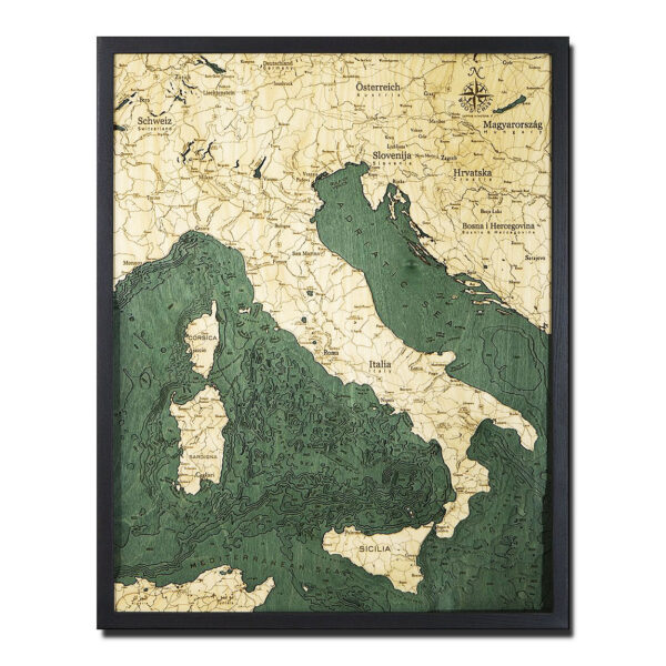 Italy 3D Wood Map