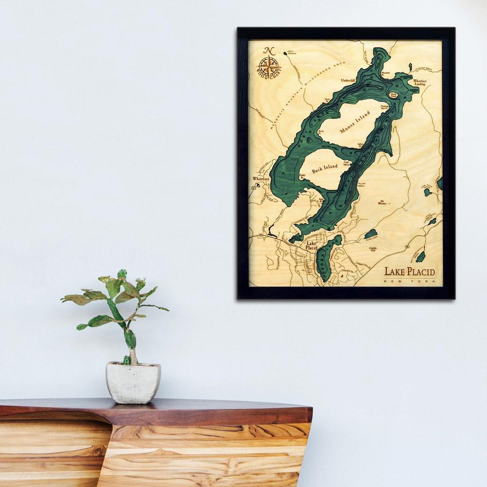 Lake Placid New York Map.Lake Placid New York 3d Nautical Wood Map 16 X 20