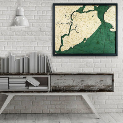 Staten Island NY wood map 3d poster