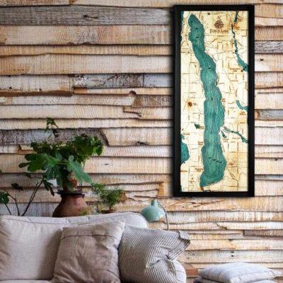 Torch Lake MI 3d wood map poster