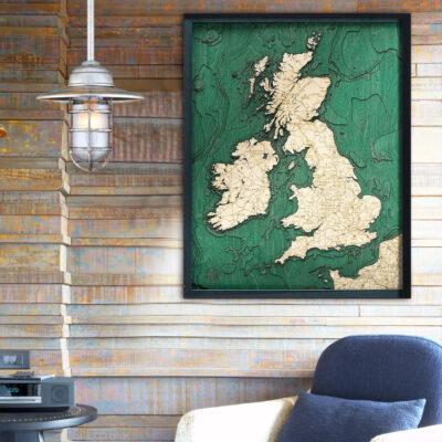 United Kingdom 3d wood map