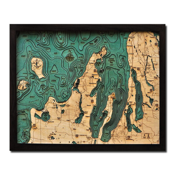 Grand Traverse Bay 3D Wood Map Lake Michigan