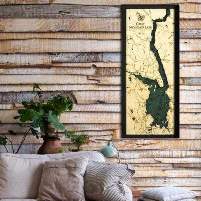 Great Sacandaga Lake 3d wood map, poster