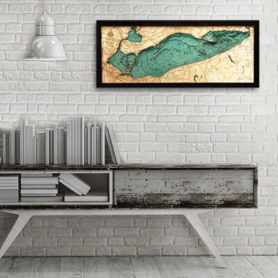 Lake Erie map 3d wood poster