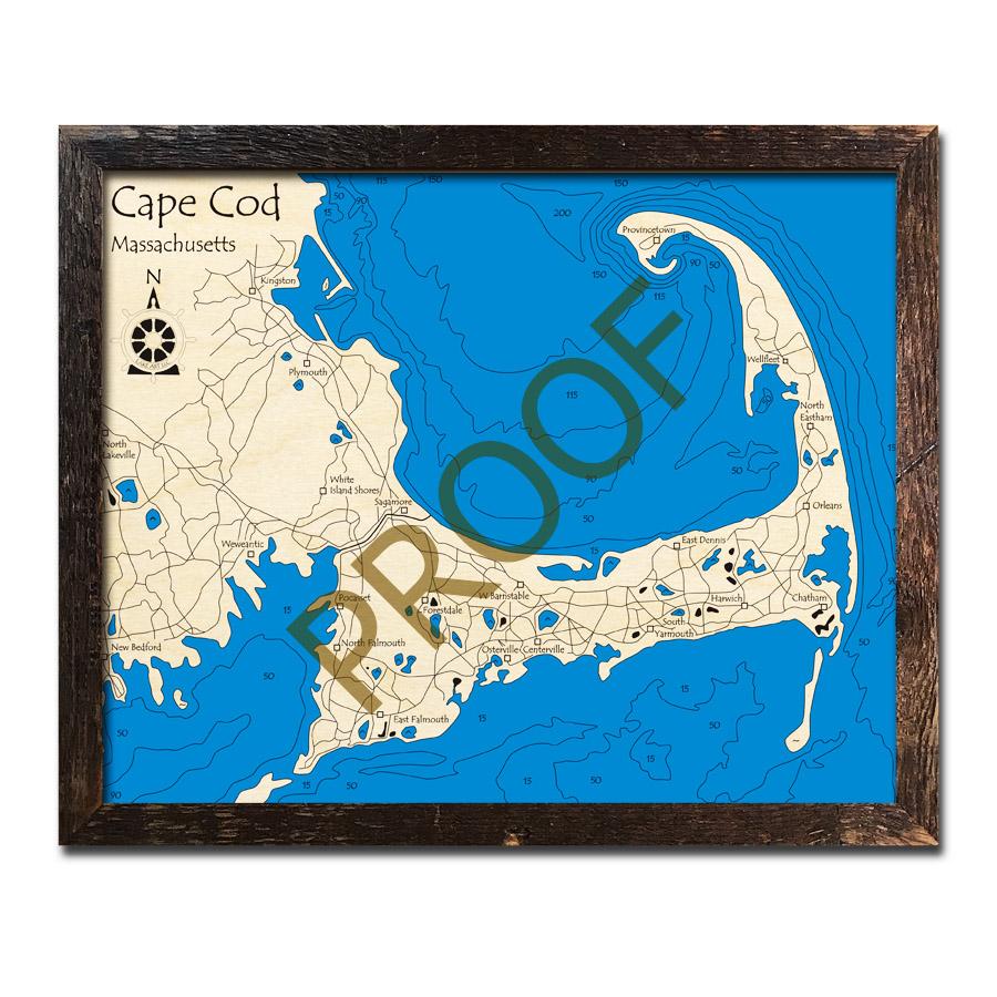 Cape Cod, MA 3D Wood Map