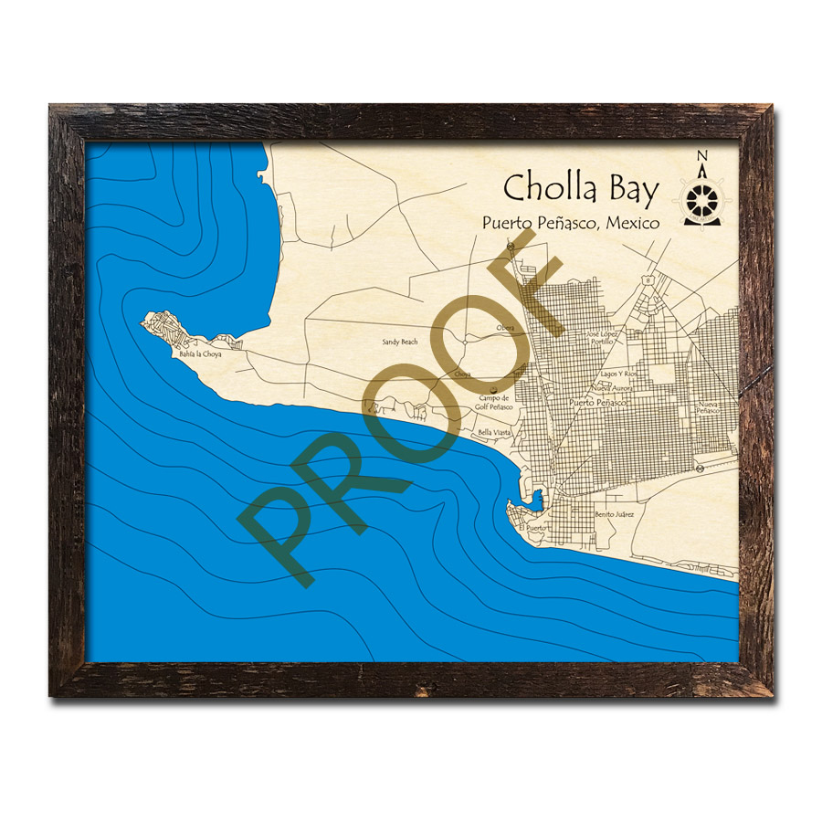 Cholla Bay Mexico 3d Wood Maps