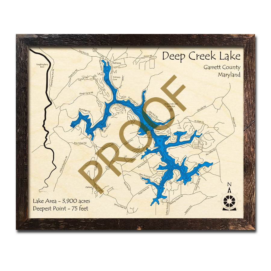 Deep Creek Lake, MD 3D Wood Topo Maps
