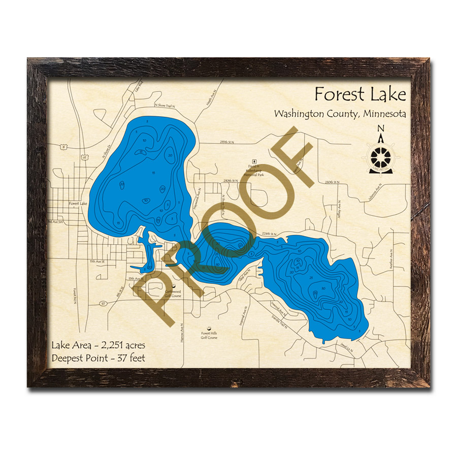 forest lake mn map Forest Lake Mn 3d Wood Topo Maps forest lake mn map