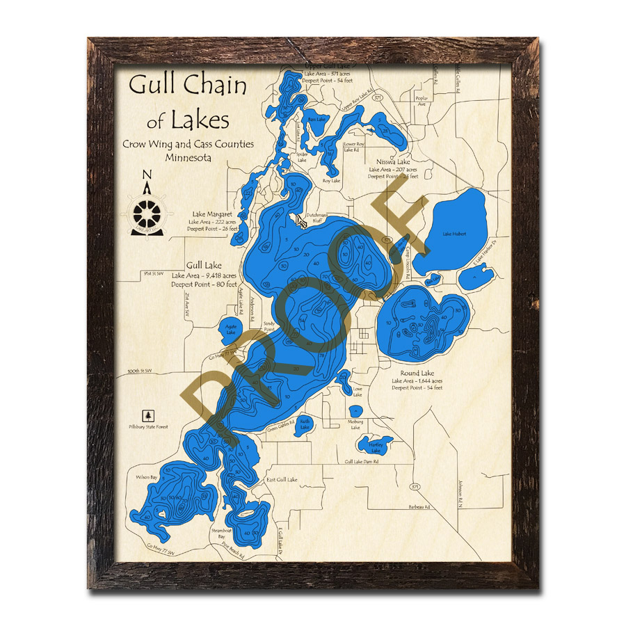 Minnesota Map With Lakes.Gull Chain Of Lakes Mn 3d Wood Maps Laser Etched Nautical Decor