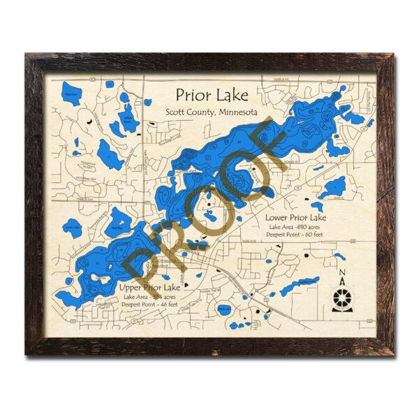 map of prior lake mn Prior Lake Mn 3d Wood Maps Laser Etched Nautical Decor map of prior lake mn