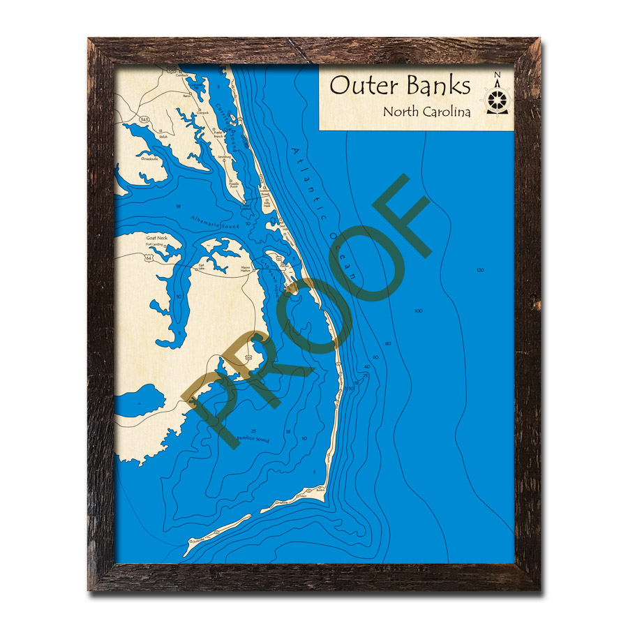 Outer Banks, NC 3D Wood Maps, Laser-etched Nautical Decor