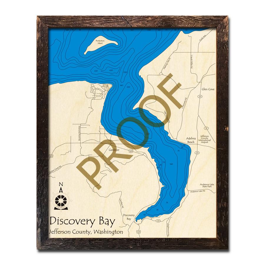 Discovery Bay Wa 3d Wood Topo Maps
