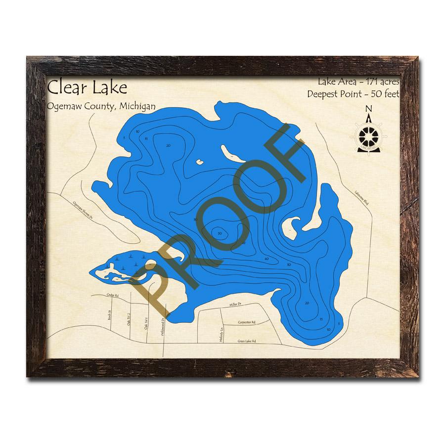 clear lake michigan map Clear Lake Ogemaw County Mi 3d Wood Topo Map clear lake michigan map