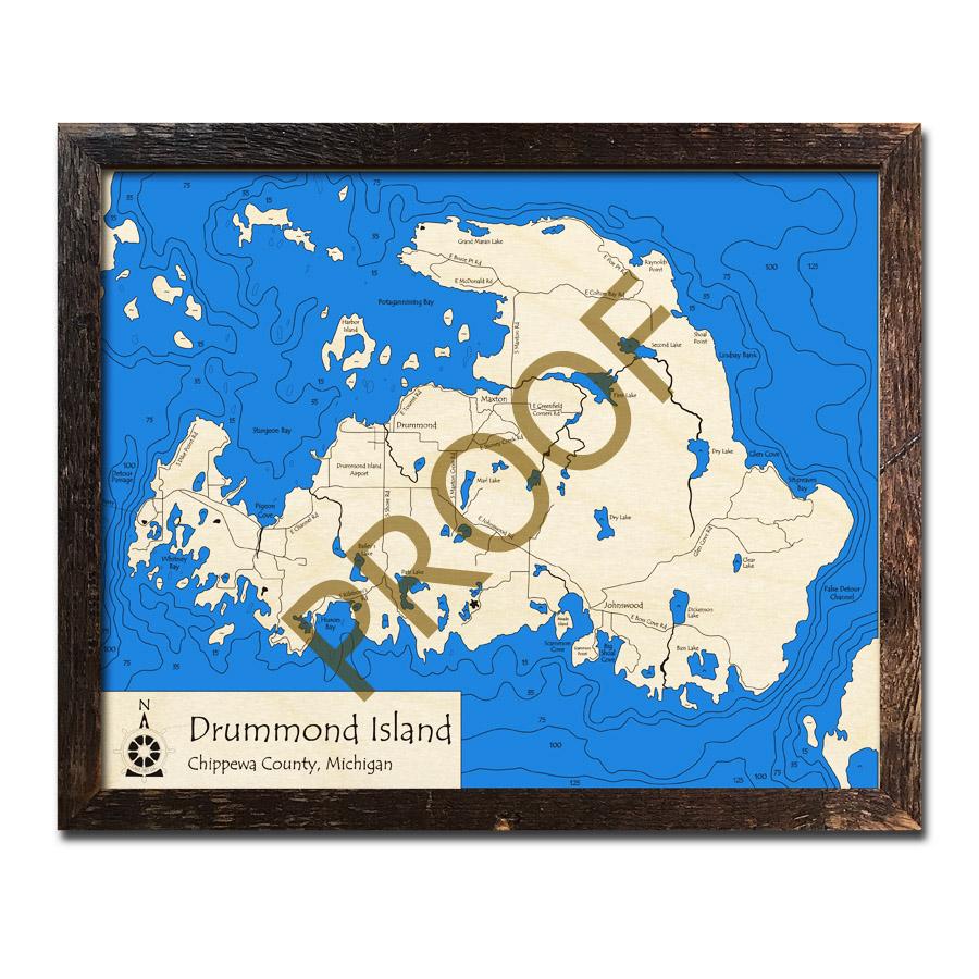 Drummond Island, MI 3D Wood Topo Map on douglas island map, fairfield island map, mackinac island map, darby island map, edward island map, great lakes map, rose island map, neebish island map, clover island map, watson island map, wilson island map, lake island map, fiordland island map, new brunswick island map, bad axe map, smith island map, hall island map, canton island map, dollar bay map, baker island map,