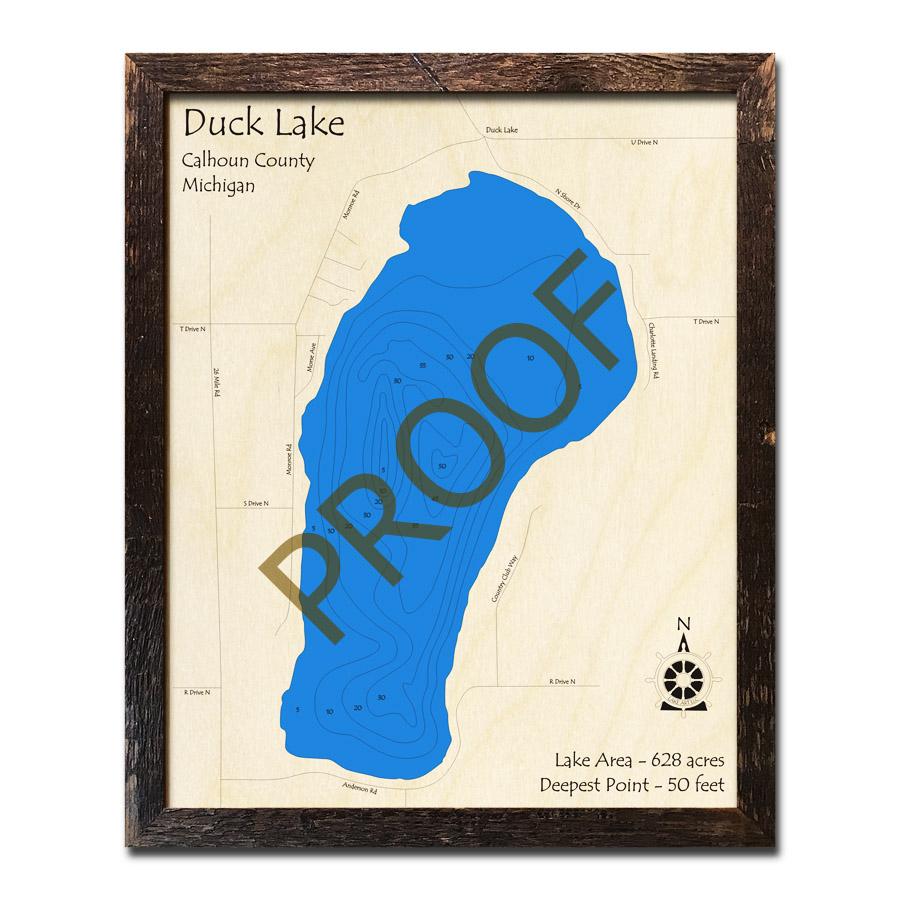 Duck Lake (Calhoun County), MI 3D Wood Topo Map