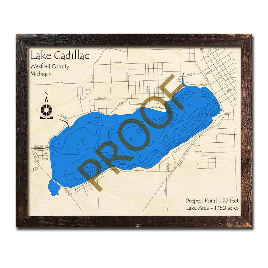 Lake Cadillac Mi 3d Wood Topo Map