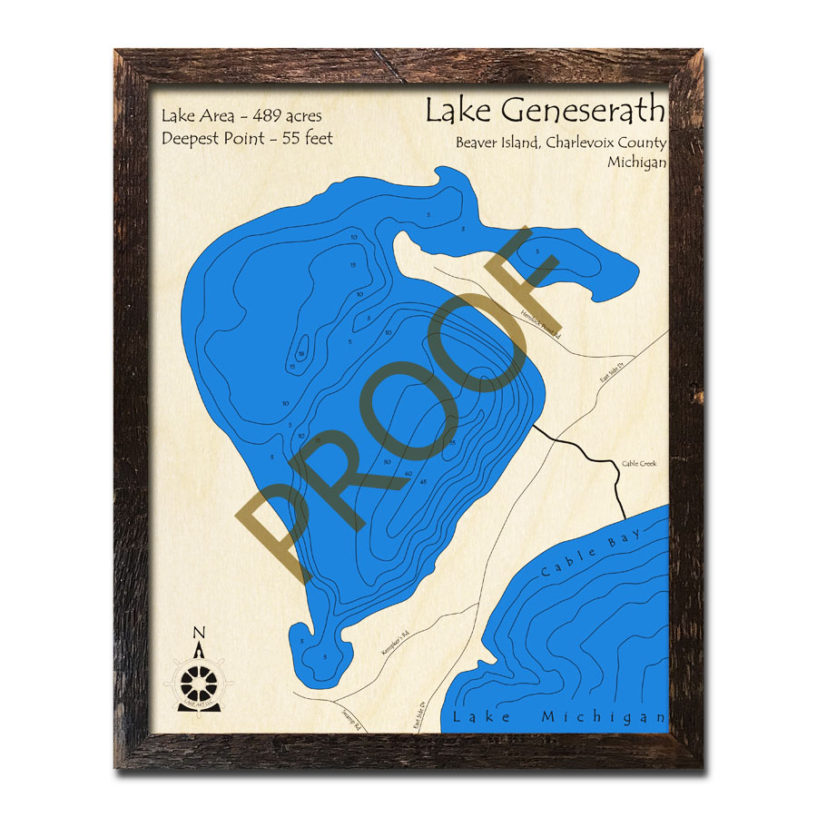 Lake Geneserath Beaver Island Mi 3d Wood Topo Map