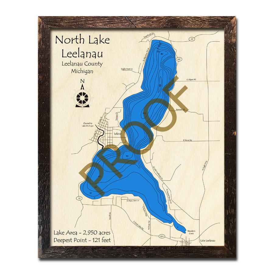 North Lake Leelanau Mi 3d Wood Topo Map