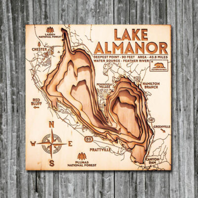 Lake Almanor Nautical 3D Wood Map
