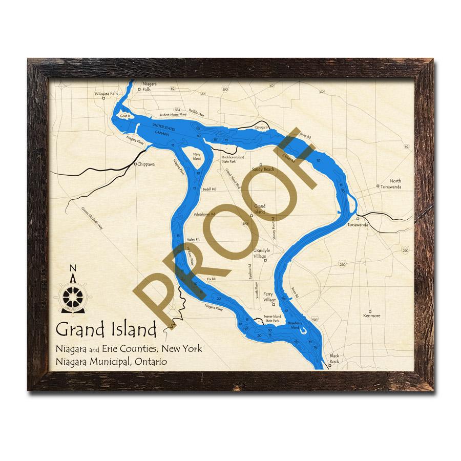 Grand Island, NY 3D Wood Topo Map