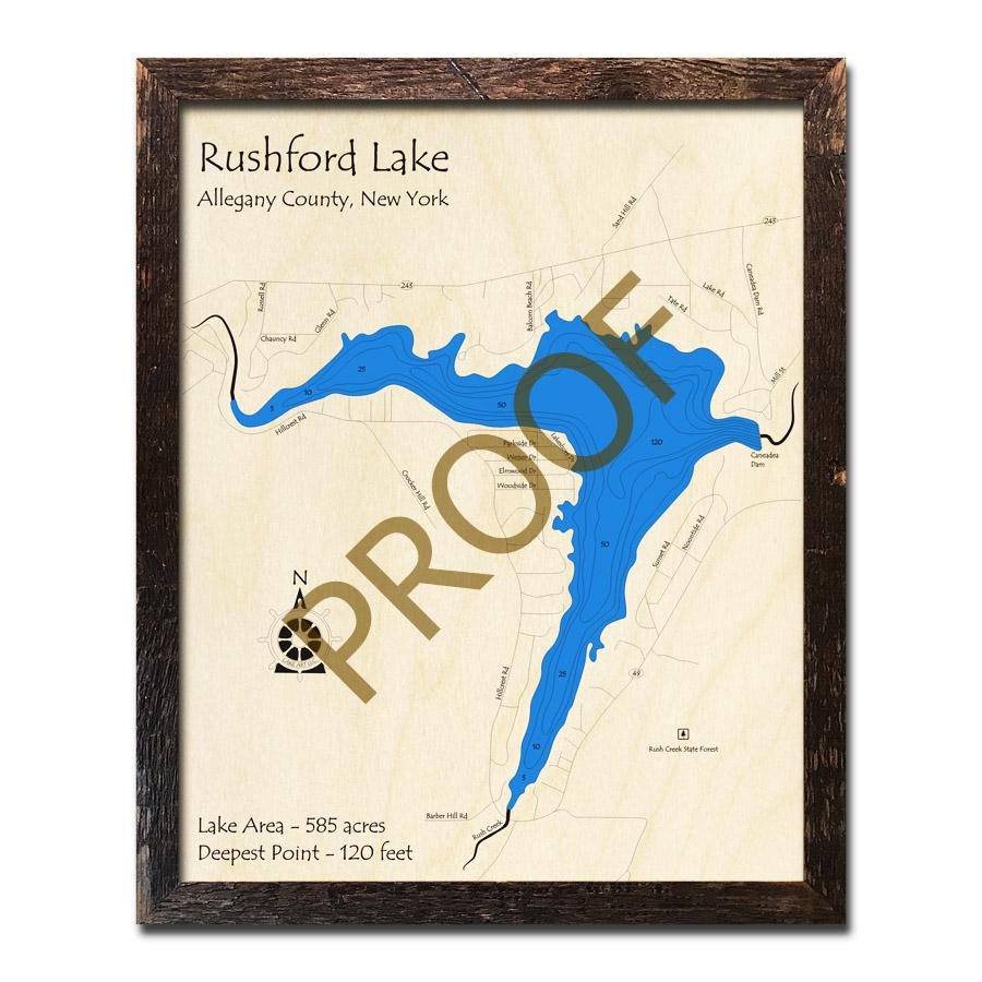 rushford lake ny map Rushford Lake Ny 3d Wood Topo Map rushford lake ny map