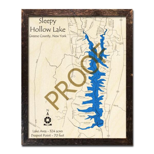 Sleepy Hollow Ny Map: Sleepy Hollow Lake, NY 3D Wood Topo Map