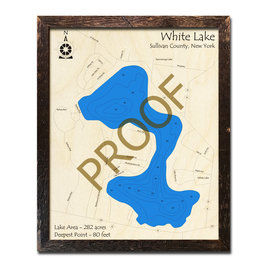 white lake ny map White Lake Sullivan County Ny 3d Wood Topo Map white lake ny map