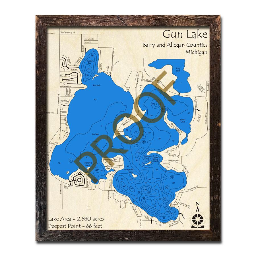 Gun Lake Mi 3d Wood Topo Map