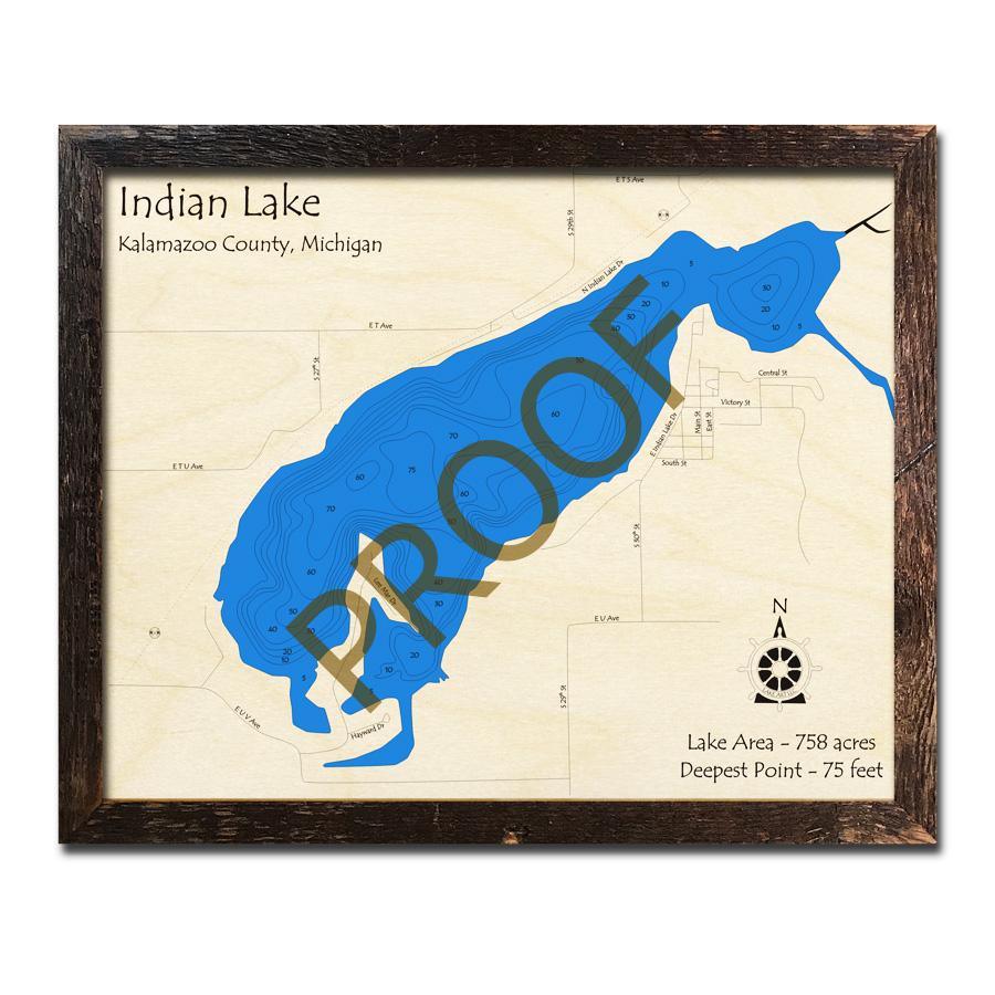 Indian Lake (Kalamazoo County), MI 3D Wood Topo Map on stewart county map, livonia county map, cooper township map, chillicothe county map, kalamazoo gis maps, joliet county map, kent county map, harrisburg pa county map, eugene county map, east idaho county map, akron county map, grand rapids county map, wayne county map, michigan map, springfield il county map, ottawa county map, sioux city county map, roosevelt county map, little rock county map, sedona county map,