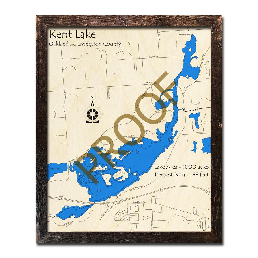 kent lake michigan map Kent Lake Mi 3d Wood Topo Map kent lake michigan map