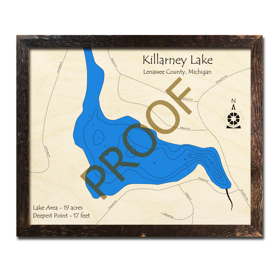 Killarney Lake, MI 3D Wood Topo Map